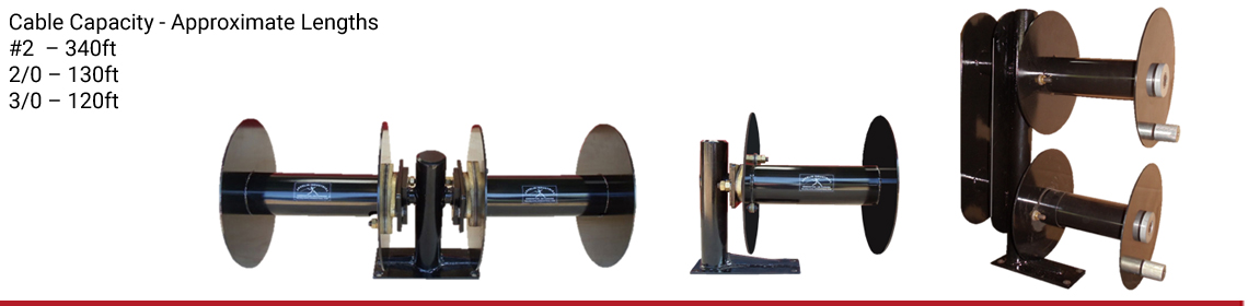 2 welding cable reels mounted side by side